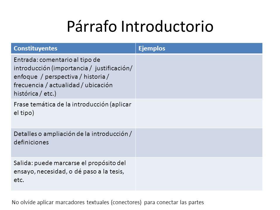 Redacción de Ensayos Los párrafos. - ppt video online descargar