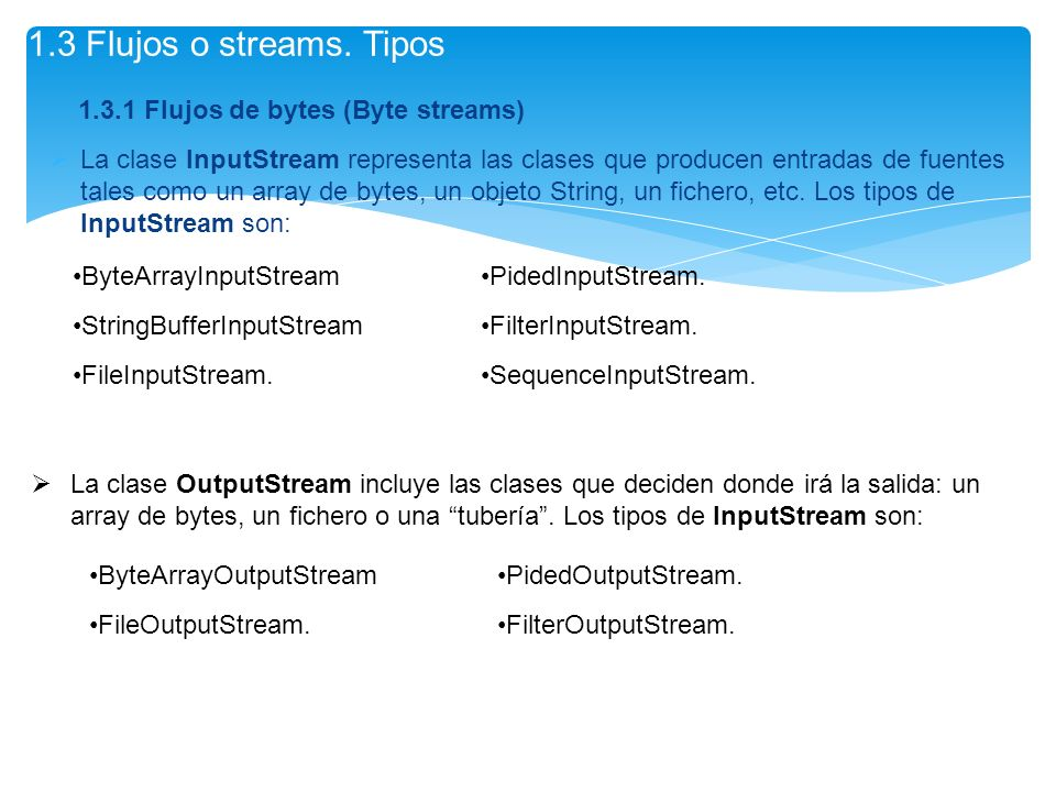 1.3 Flujos o streams. Tipos Flujos de bytes (Byte streams)