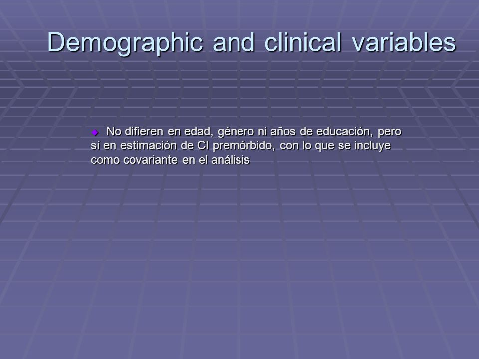 Demographic and clinical variables