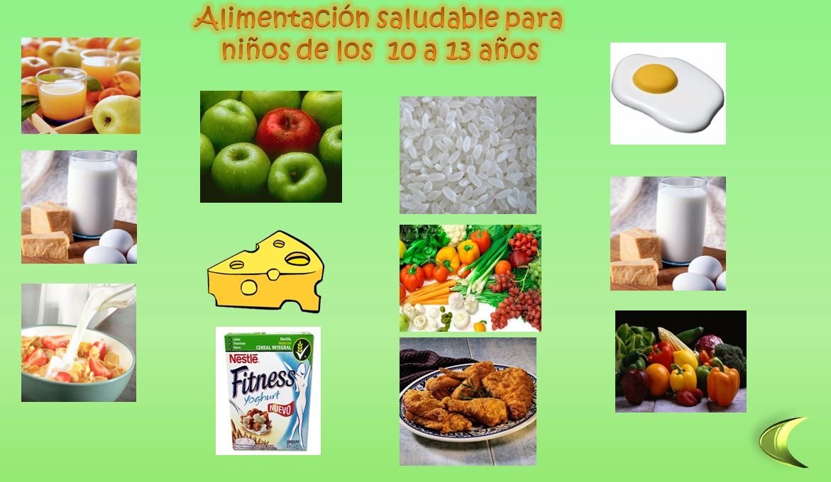 alimentacion saludable para niños en power point