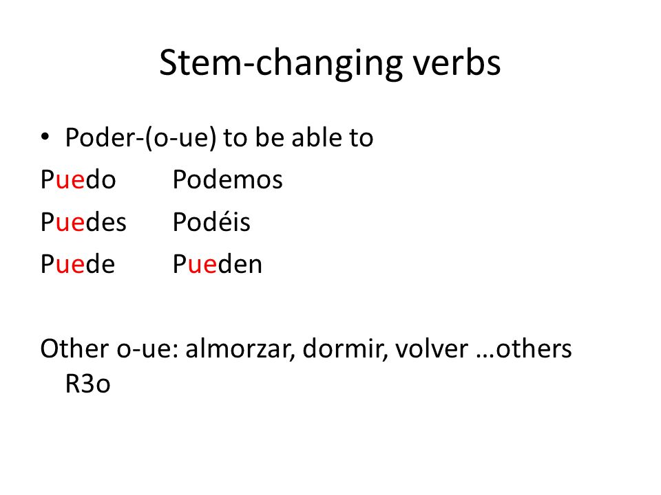 Stem-changing verbs Poder-(o-ue) to be able to Puedo Podemos