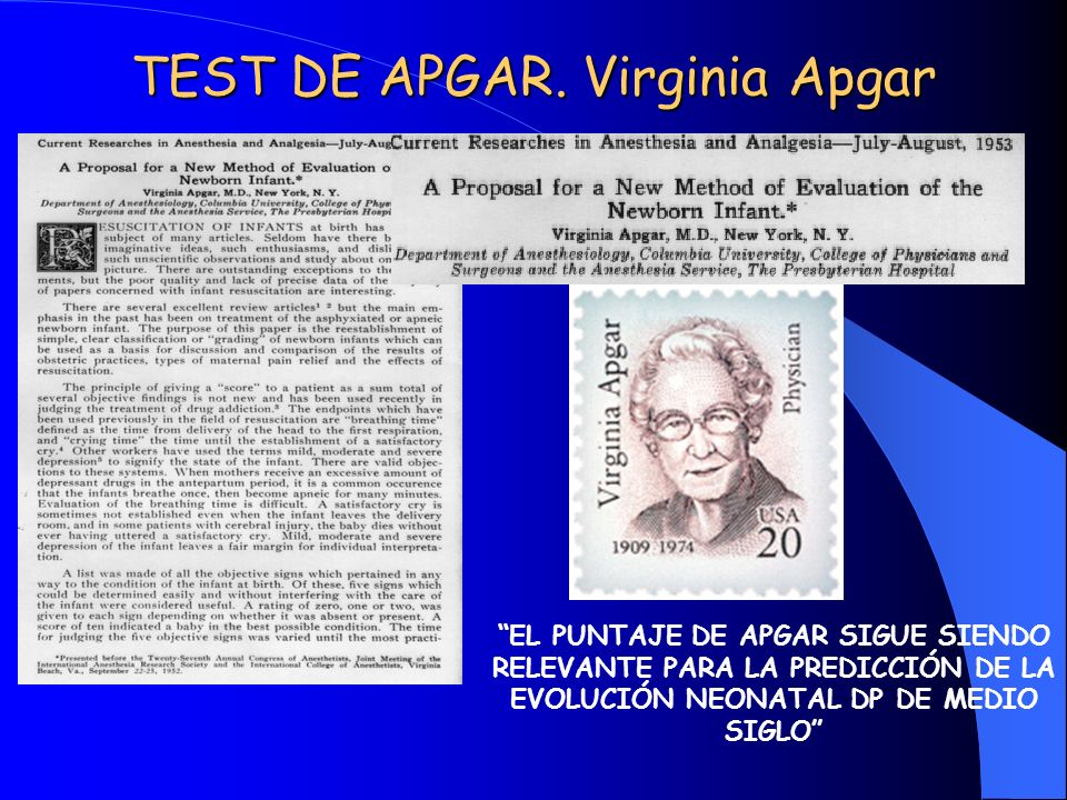 TEST DE APGAR. Virginia Apgar
