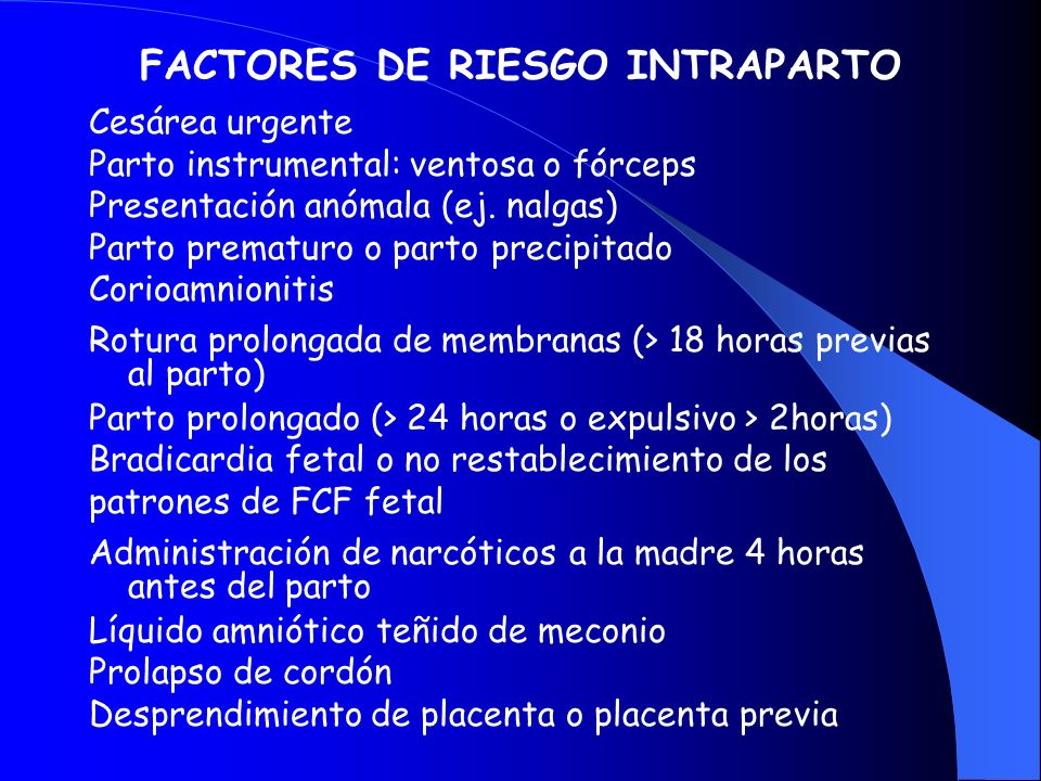 FACTORES DE RIESGO INTRAPARTO