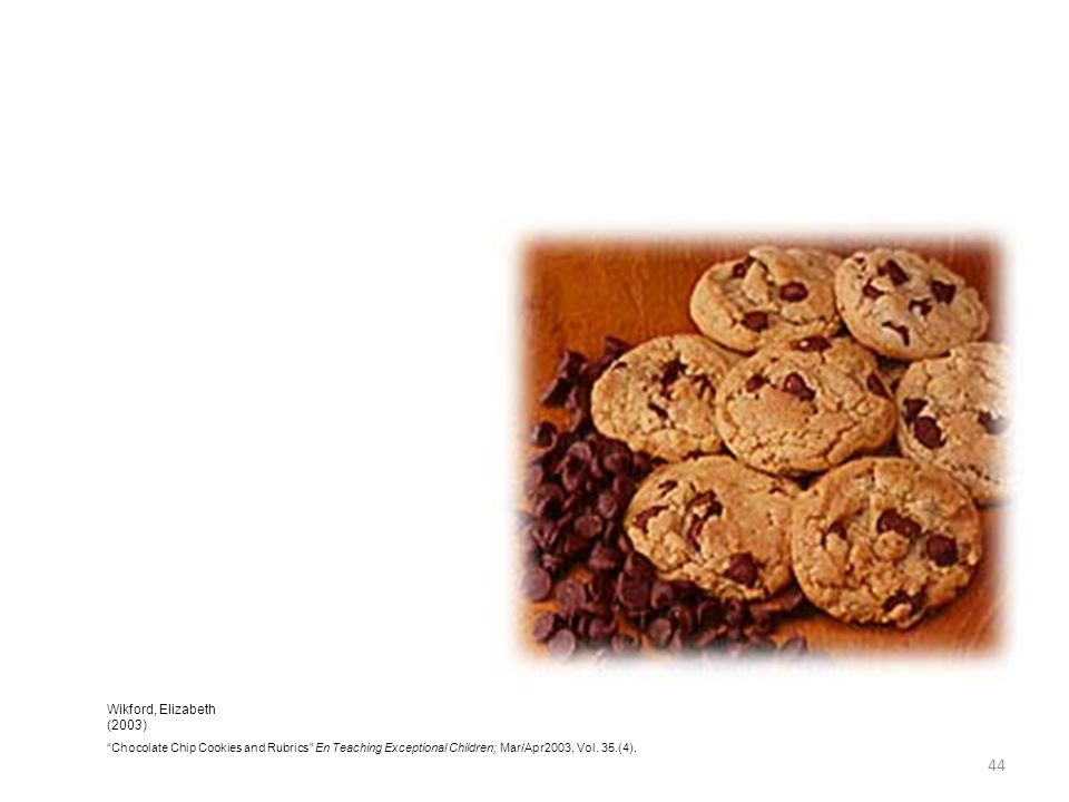 Wikford, Elizabeth (2003) Chocolate Chip Cookies and Rubrics En Teaching Exceptional Children; Mar/Apr2003, Vol.