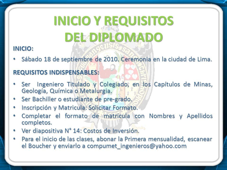 INICIO Y REQUISITOS DEL DIPLOMADO