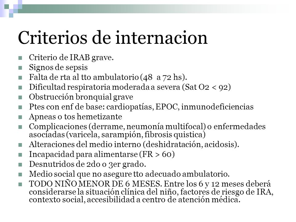 Criterios de internacion