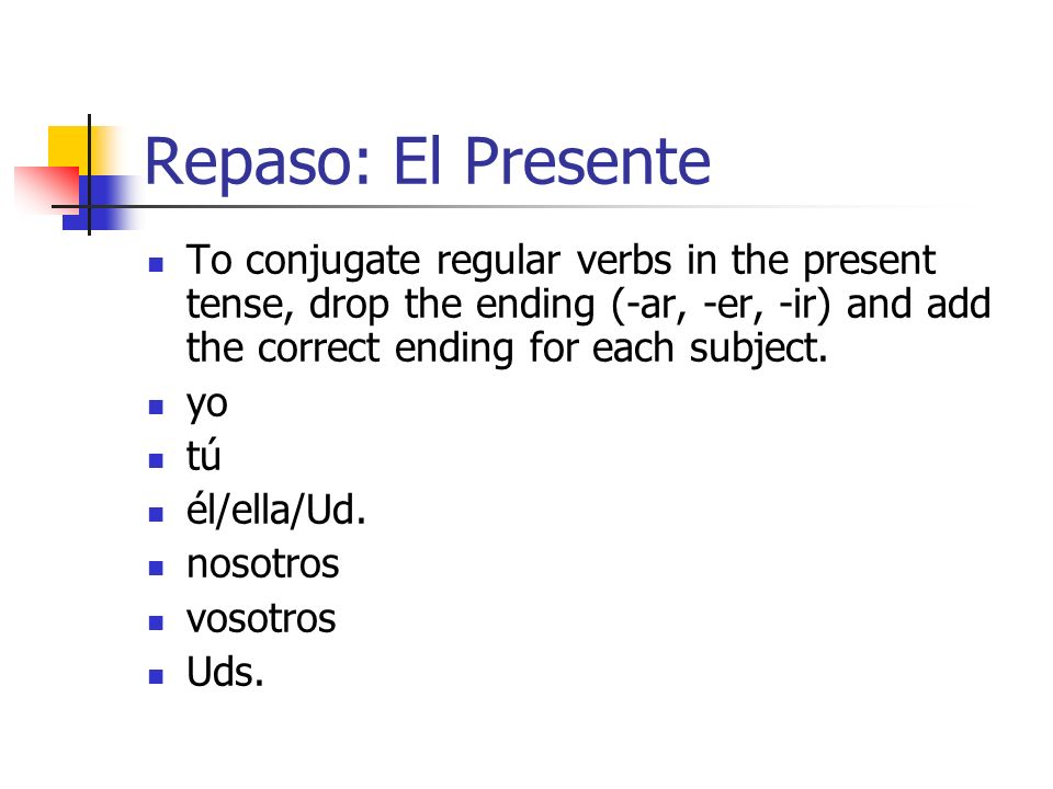 Repaso: El Presente To conjugate regular verbs in the present tense, drop the ending (-ar, -er, -ir) and add the correct ending for each subject.