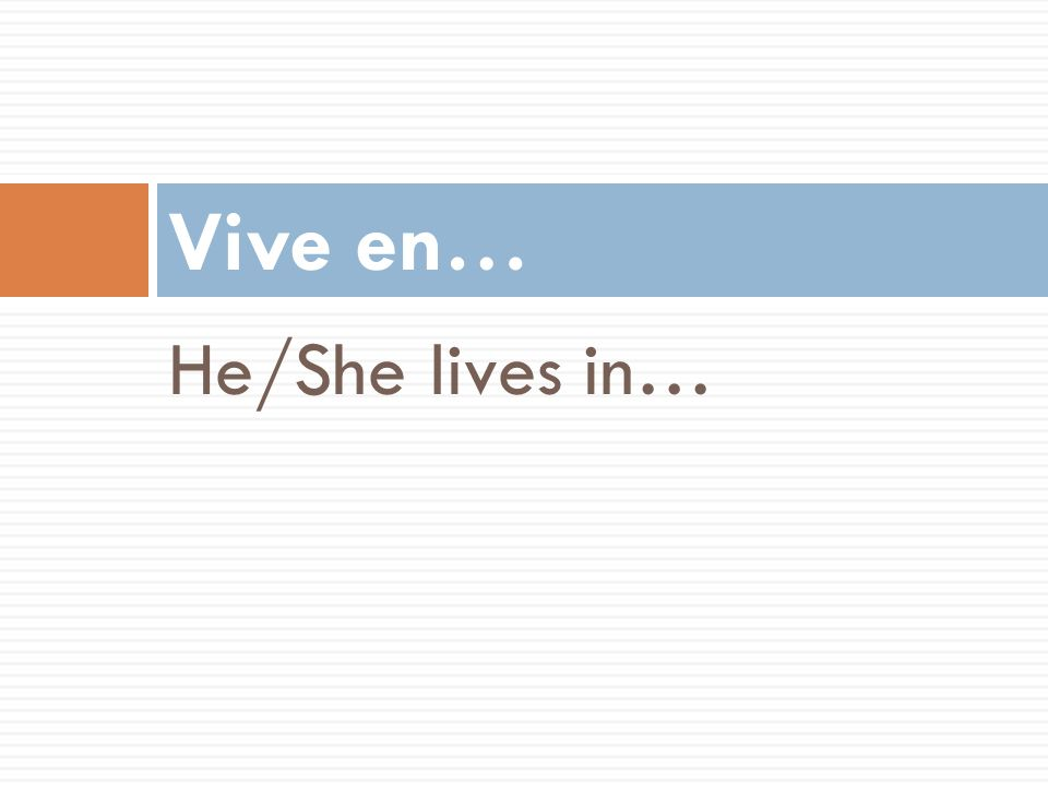 Vive en… He/She lives in…