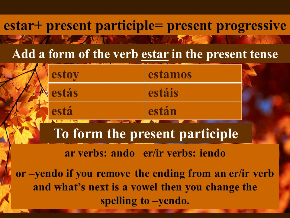 estar+ present participle= present progressive