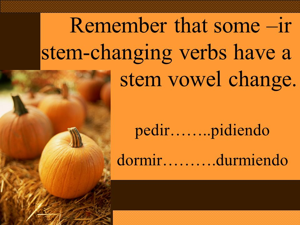 stem-changing verbs have a stem vowel change.