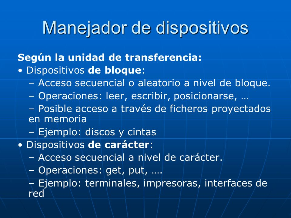 Manejador de dispositivos