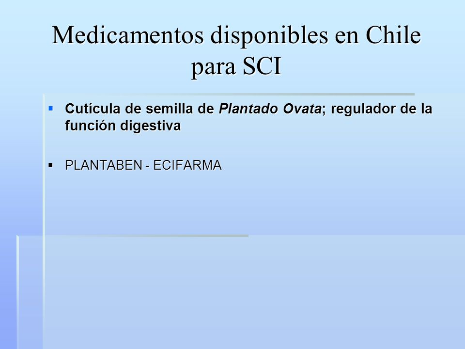 Medicamentos disponibles en Chile para SCI