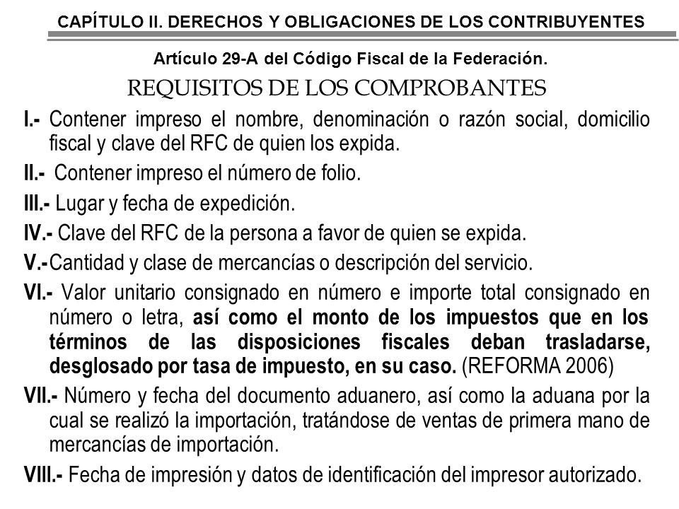 REQUISITOS DE LOS COMPROBANTES