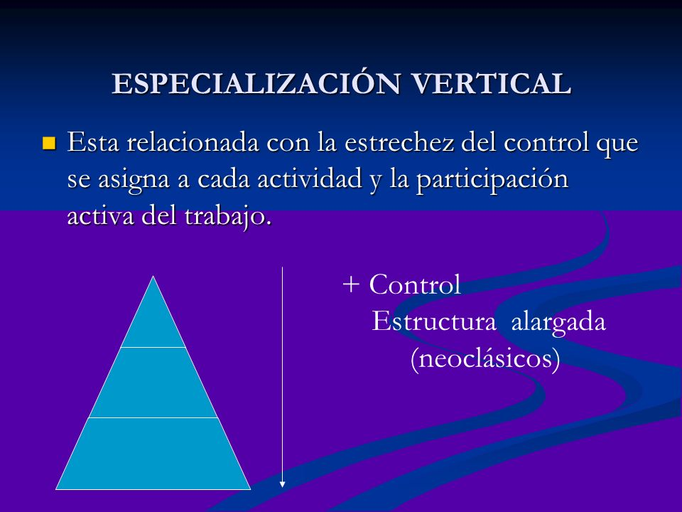 ESPECIALIZACIÓN VERTICAL