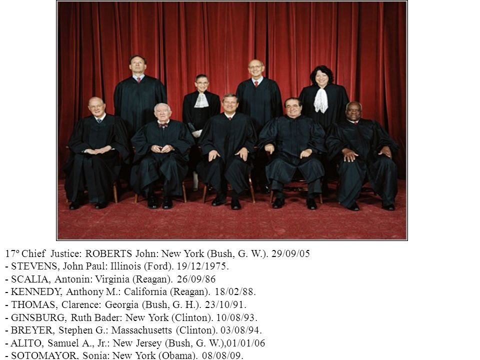 17º Chief Justice: ROBERTS John: New York (Bush, G. W.). 29/09/05