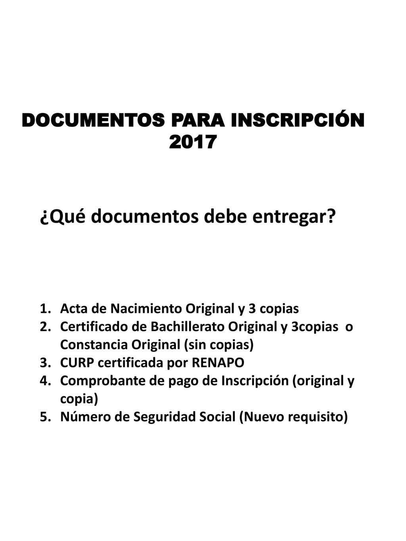 DOCUMENTOS PARA INSCRIPCIÓN - ppt descargar