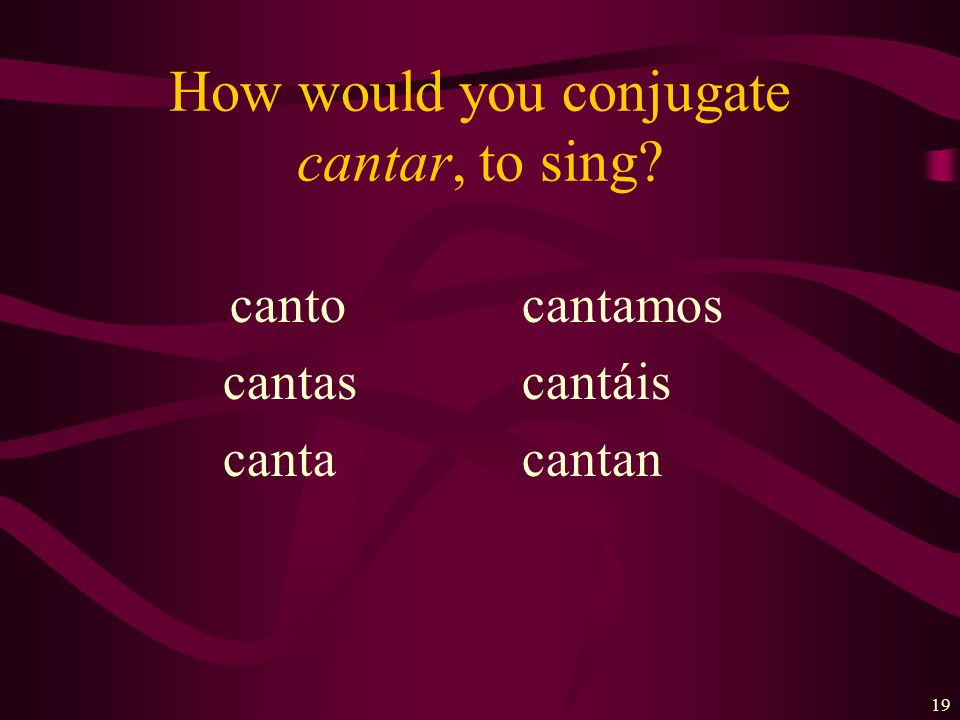 How would you conjugate cantar, to sing