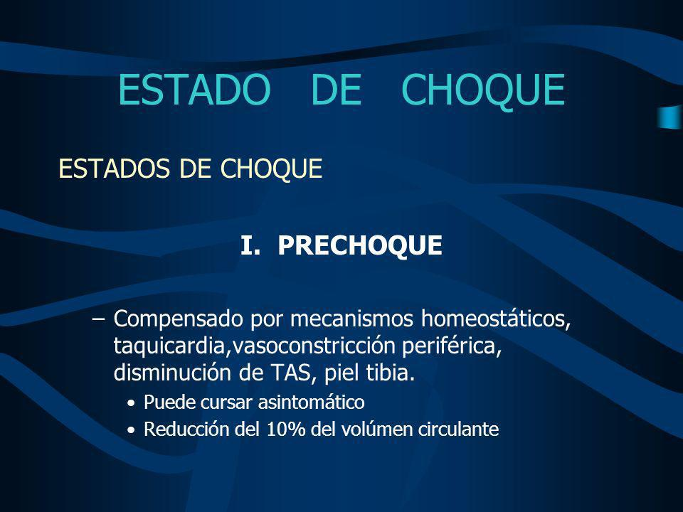 ESTADO DE CHOQUE ESTADOS DE CHOQUE I. PRECHOQUE