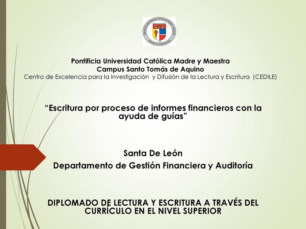 Escritura por proceso de informes financieros con la ayuda de guías ...