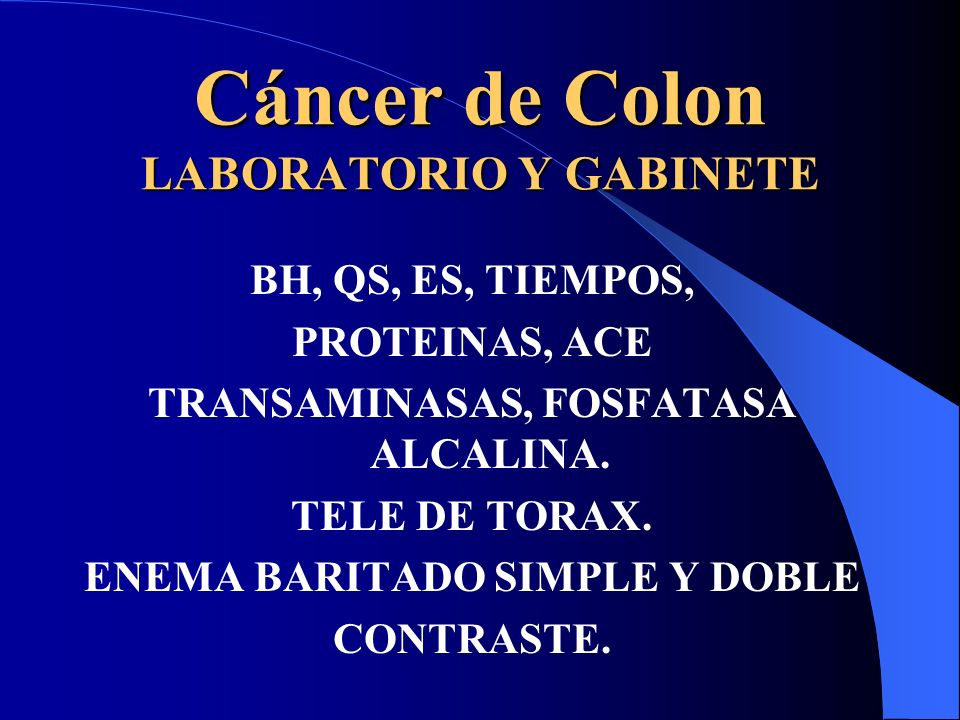 Cáncer de Colon LABORATORIO Y GABINETE