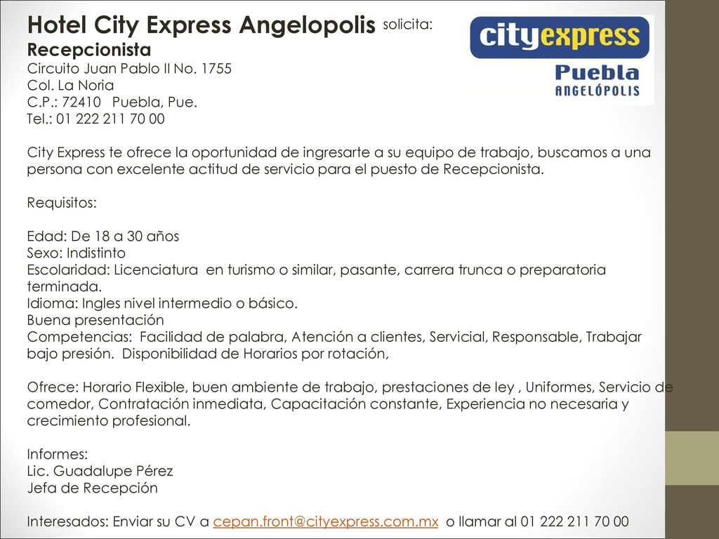 Hotel City Express Angelopolis Solicita Ppt Descargar