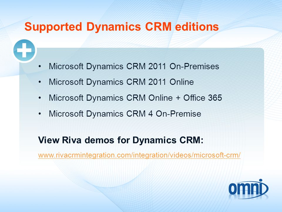 Supported Dynamics CRM editions