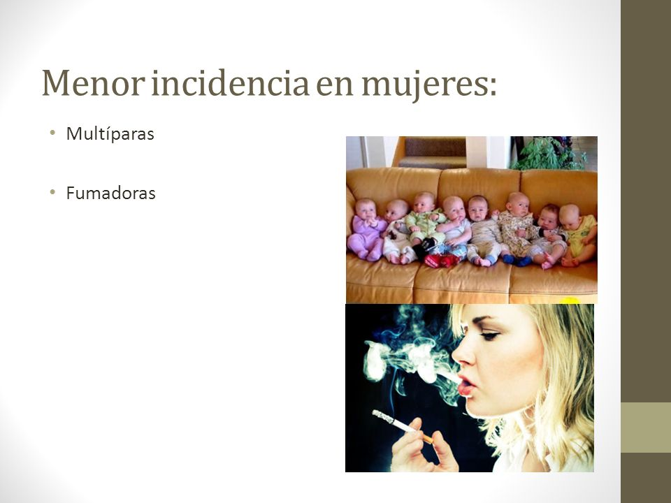 Menor incidencia en mujeres: