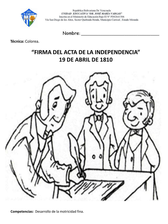 Dibujos Del Acta Dela Independencia Para Colorear picture gallery