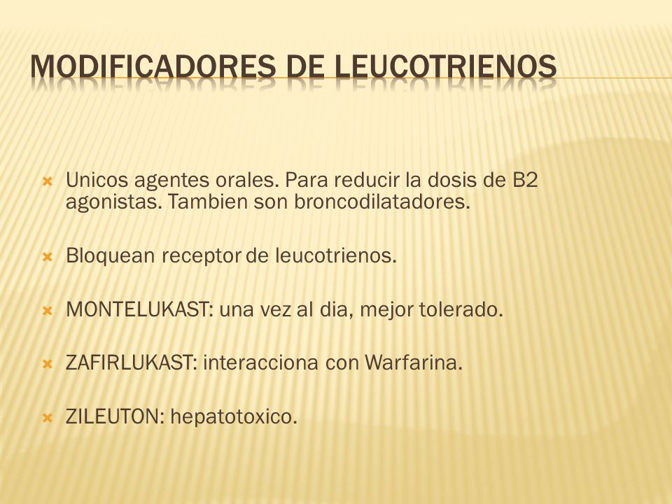 Modificadores de leucotrienos