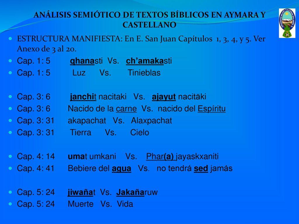 Análisis Semiótico De Textos Bíblicos En Aymara Ppt Descargar