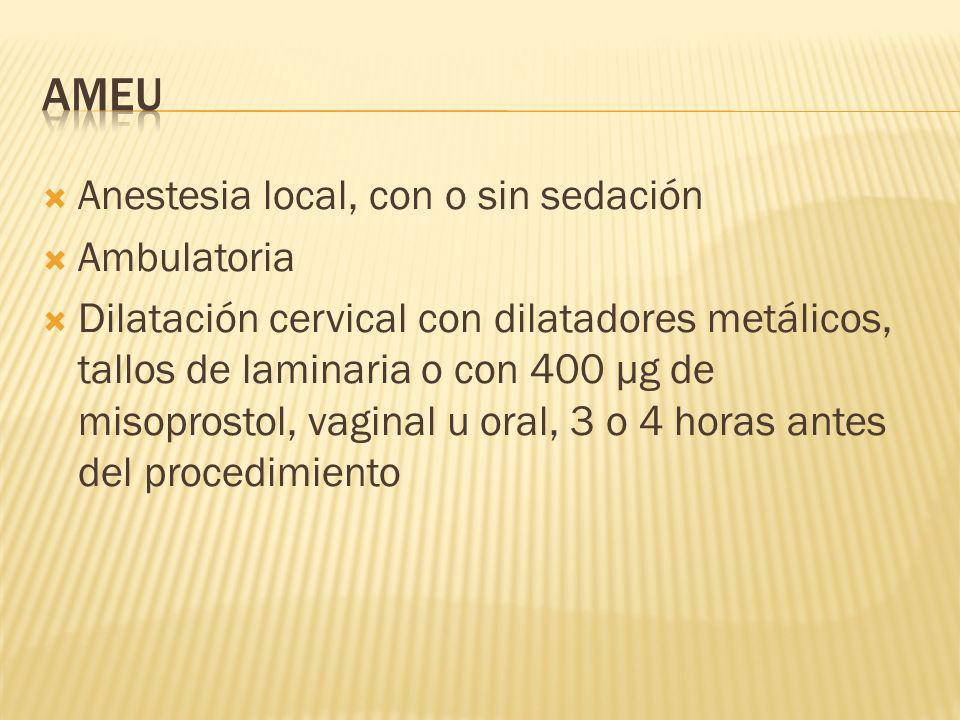 AMEU Anestesia local, con o sin sedación Ambulatoria