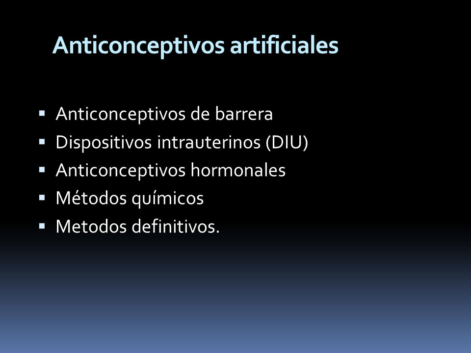 Anticonceptivos artificiales