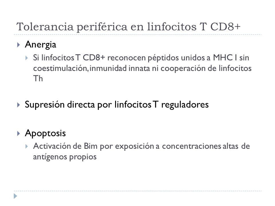 Tolerancia periférica en linfocitos T CD8+