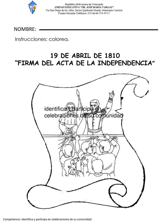 Dibujos Para Colorear Sobre La Independencia De Venezuela picture ...
