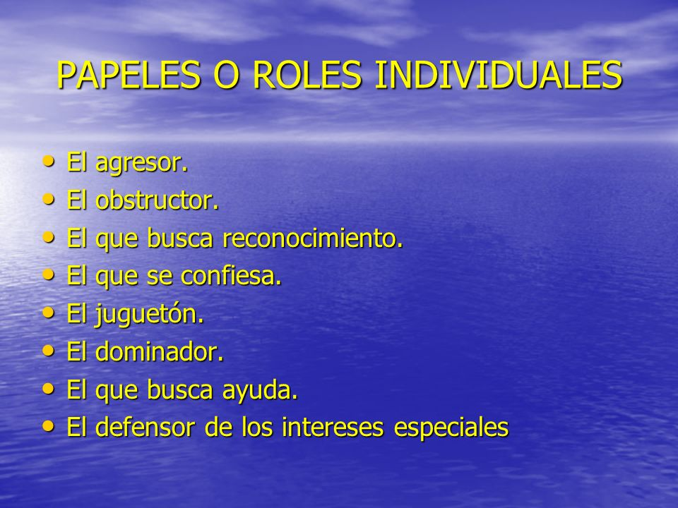 PAPELES O ROLES INDIVIDUALES
