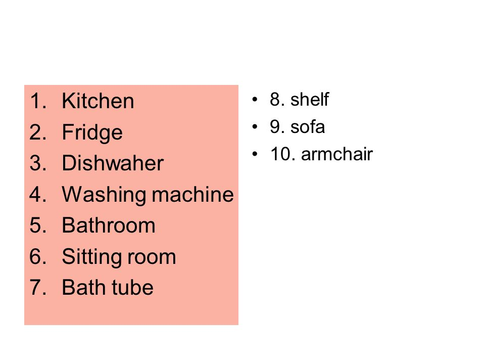 Kitchen Fridge Dishwaher Washing machine Bathroom Sitting room