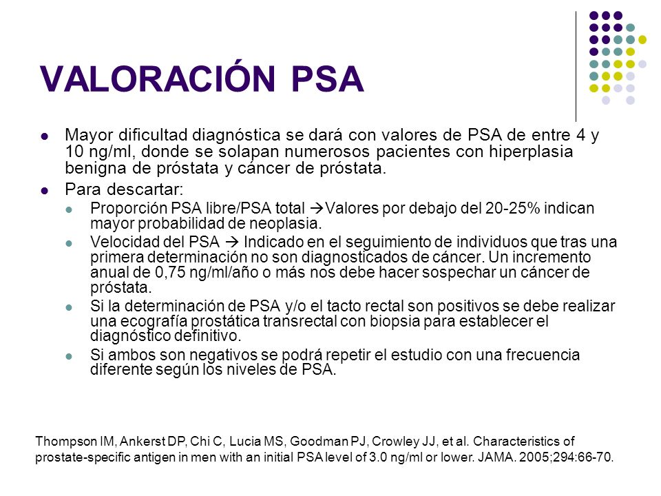valor normal cancer de prostata