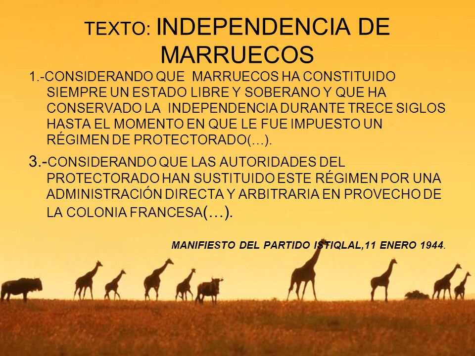 TEXTO: INDEPENDENCIA DE MARRUECOS