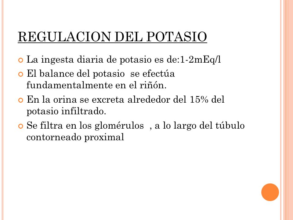 REGULACION DEL POTASIO