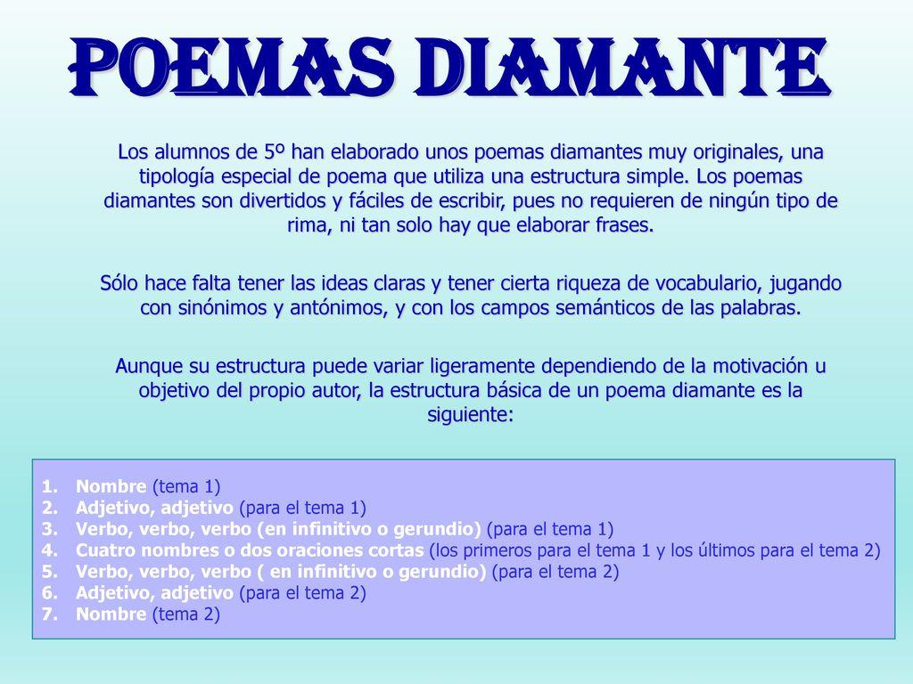 Poemas Diamante Los Alumnos De 5º Han Elaborado Unos Poemas