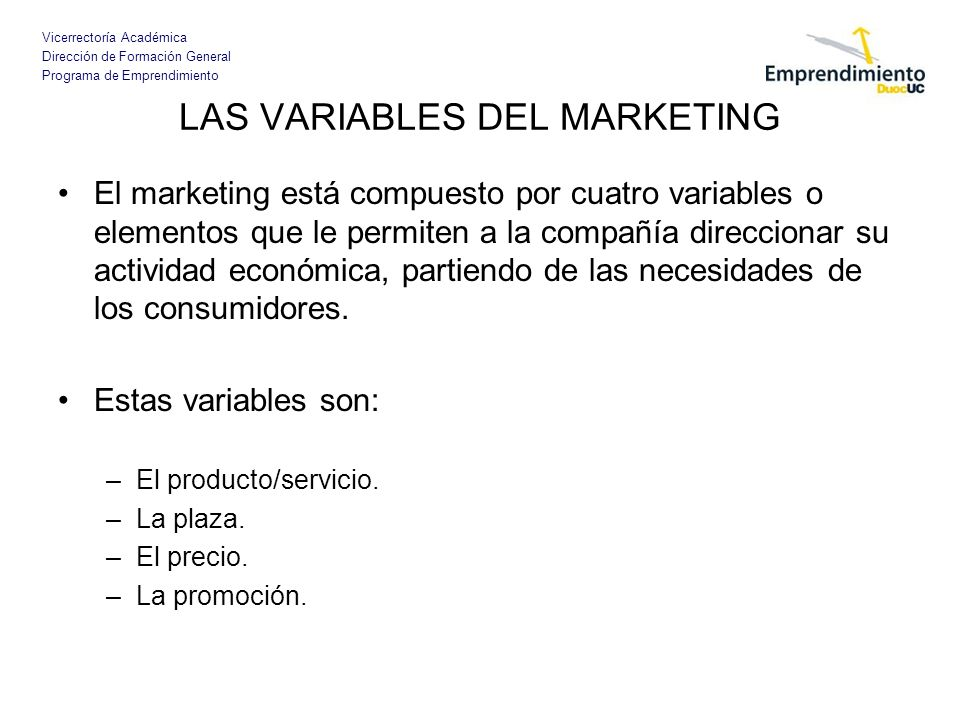LAS VARIABLES DEL MARKETING