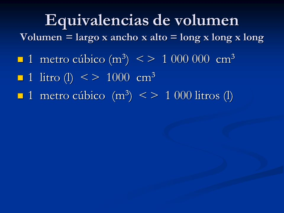 Equivalencias de volumen Volumen = largo x ancho x alto = long x long x long