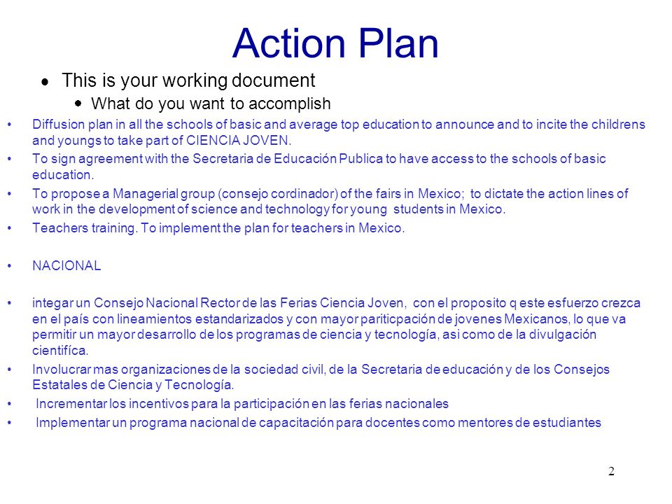Action Plan This is your working document