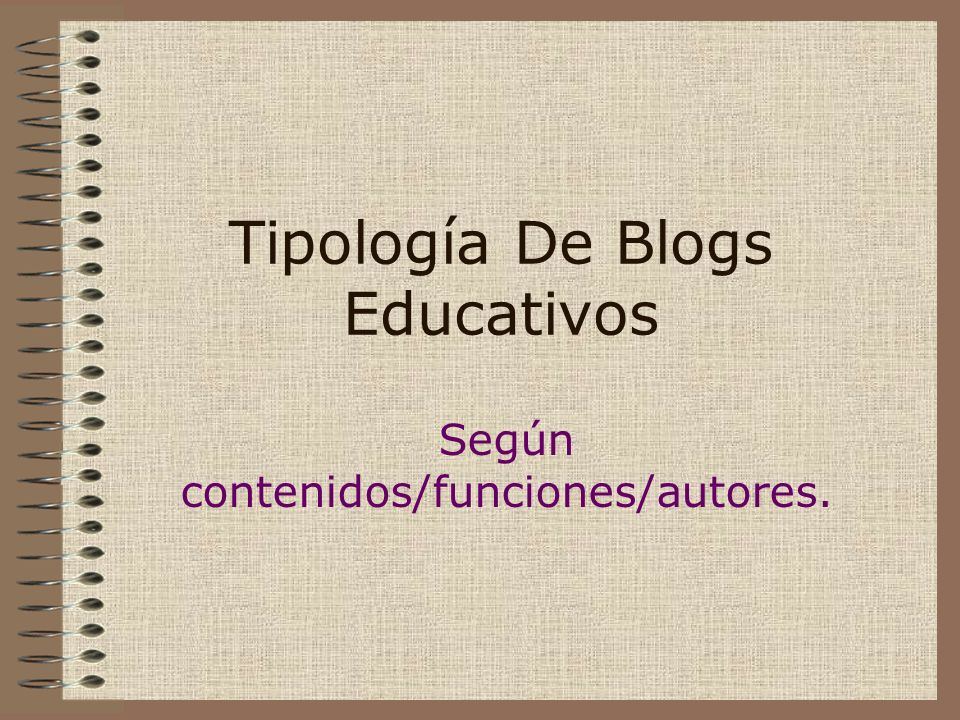 Tipología De Blogs Educativos