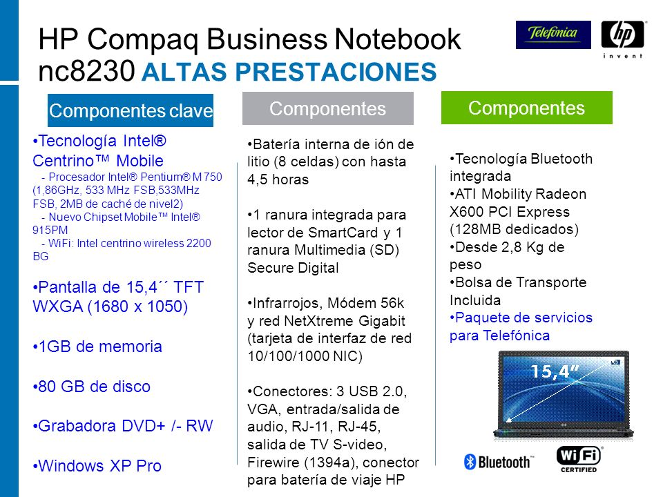 HP Compaq Business Notebook nc8230 ALTAS PRESTACIONES