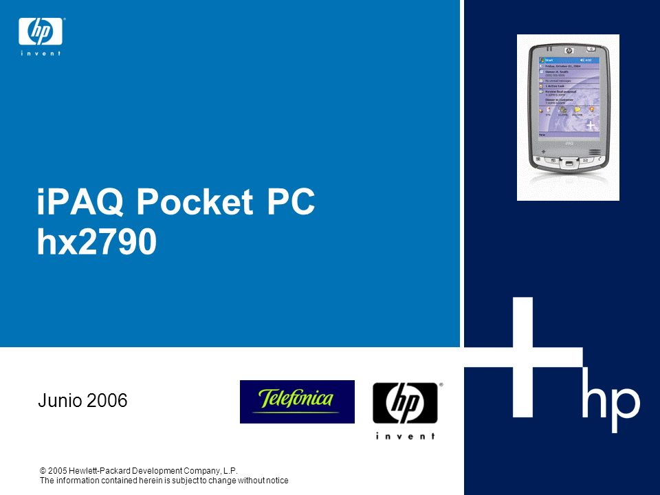iPAQ Pocket PC hx2790 Junio 2006