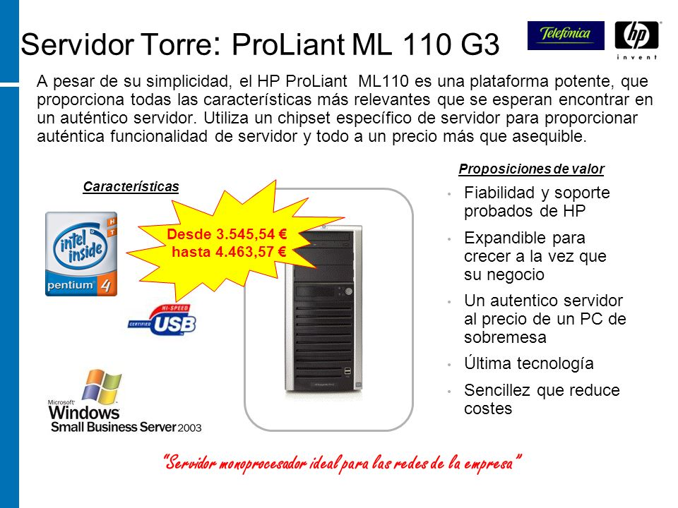 Servidor Torre: ProLiant ML 110 G3