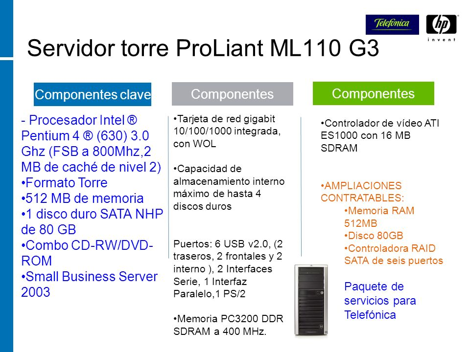 Servidor torre ProLiant ML110 G3
