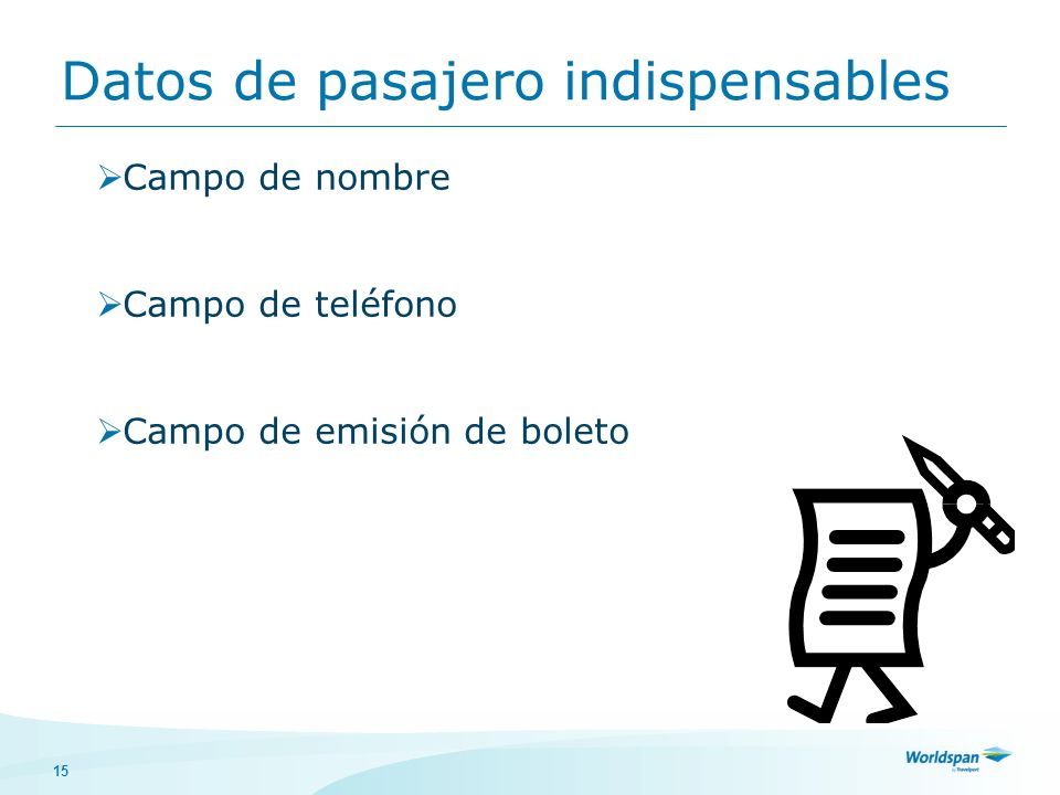 Datos de pasajero indispensables
