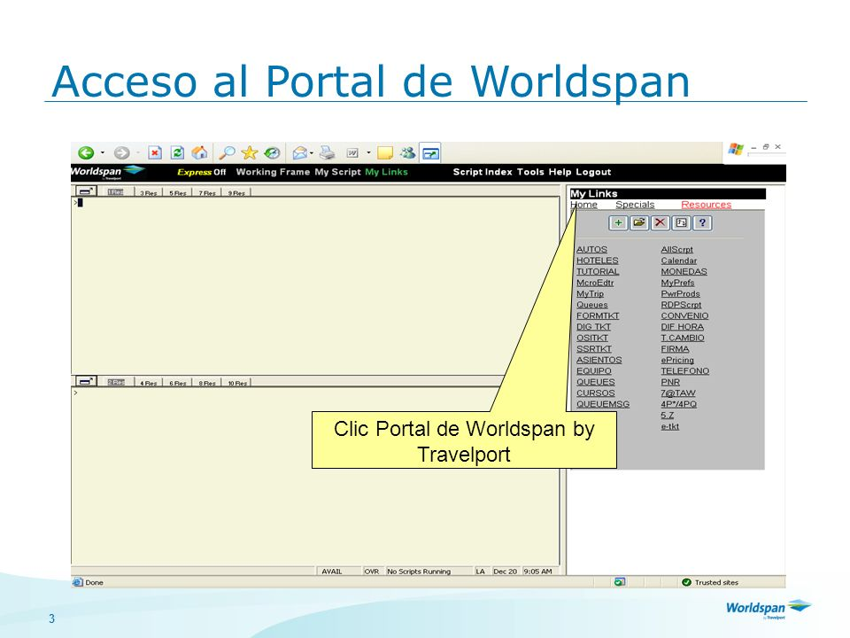 Clic Portal de Worldspan by Travelport